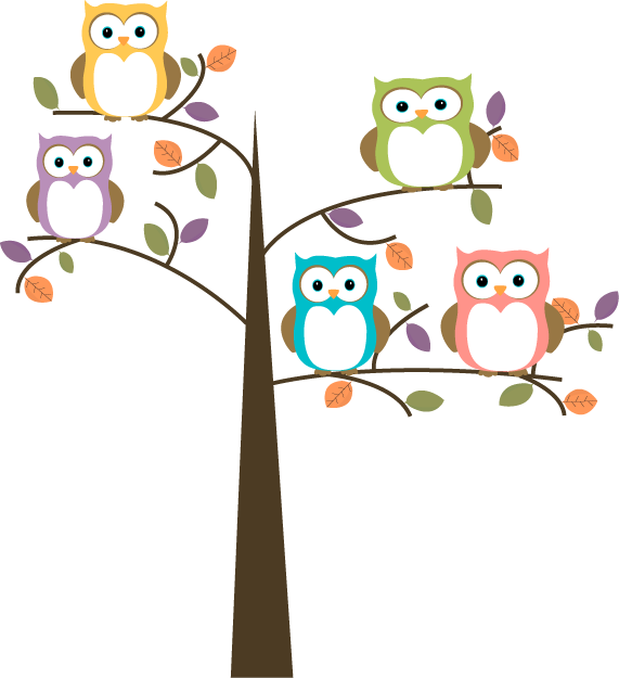 Tree clipart cute graphic royalty free download Owl Cartoon | Colorful Owls in Pretty Tree Clip Art - Colorful Owls ... graphic royalty free download