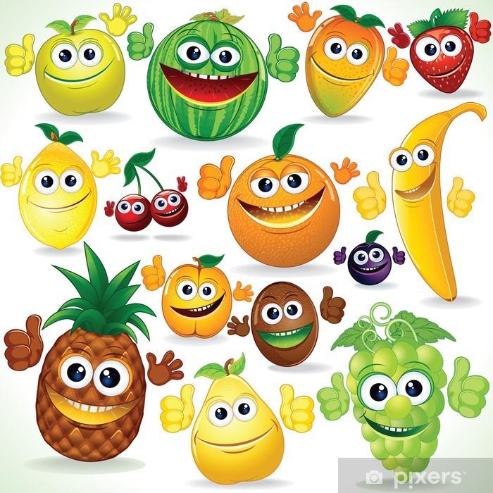 Clipart owoce vector freeuse Fototapeta winylowa Śmieszne kreskówki owoce. Kolorowe clipart vector freeuse