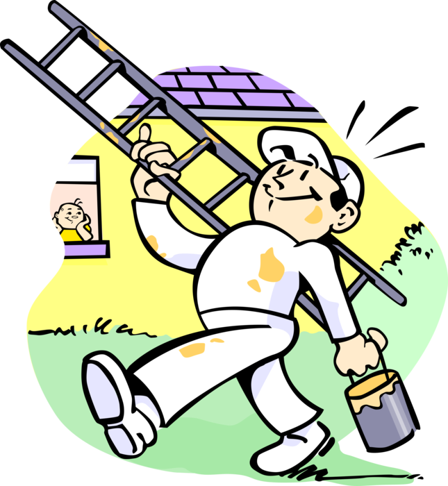 Clipart painting a house yellow png transparent House Painter with Ladder and Paint - Vector Image png transparent