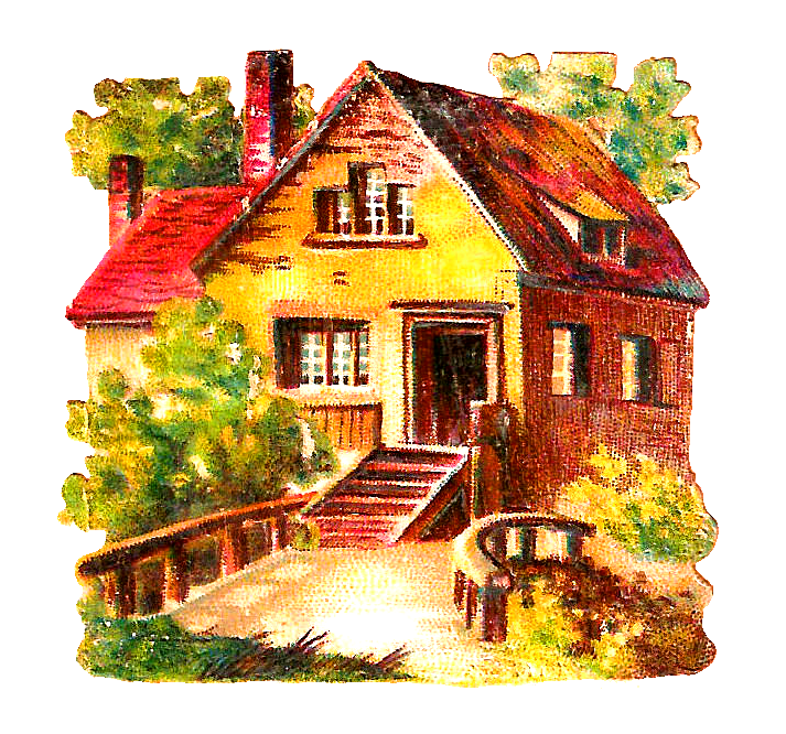 Clipart painting a house yellow image Antique Images: Free House Clip Art: 2 Digital Scraps of Antique ... image