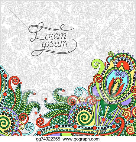 Clipart paisley design picture freeuse download Vector Clipart - Paisley design on decorative floral background for ... picture freeuse download
