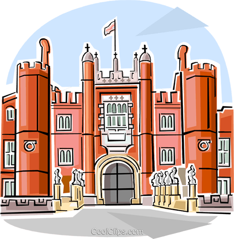 Clipart palaces vector black and white stock Hampton Court Palace Royalty Free Vector Clip Art illustration ... vector black and white stock