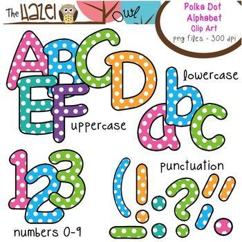 Clipart panda upper case alphabet letter a svg black and white Alphabet Clip Art: Trendy Polka Dot Print - Uppercase, Lowercase ... svg black and white