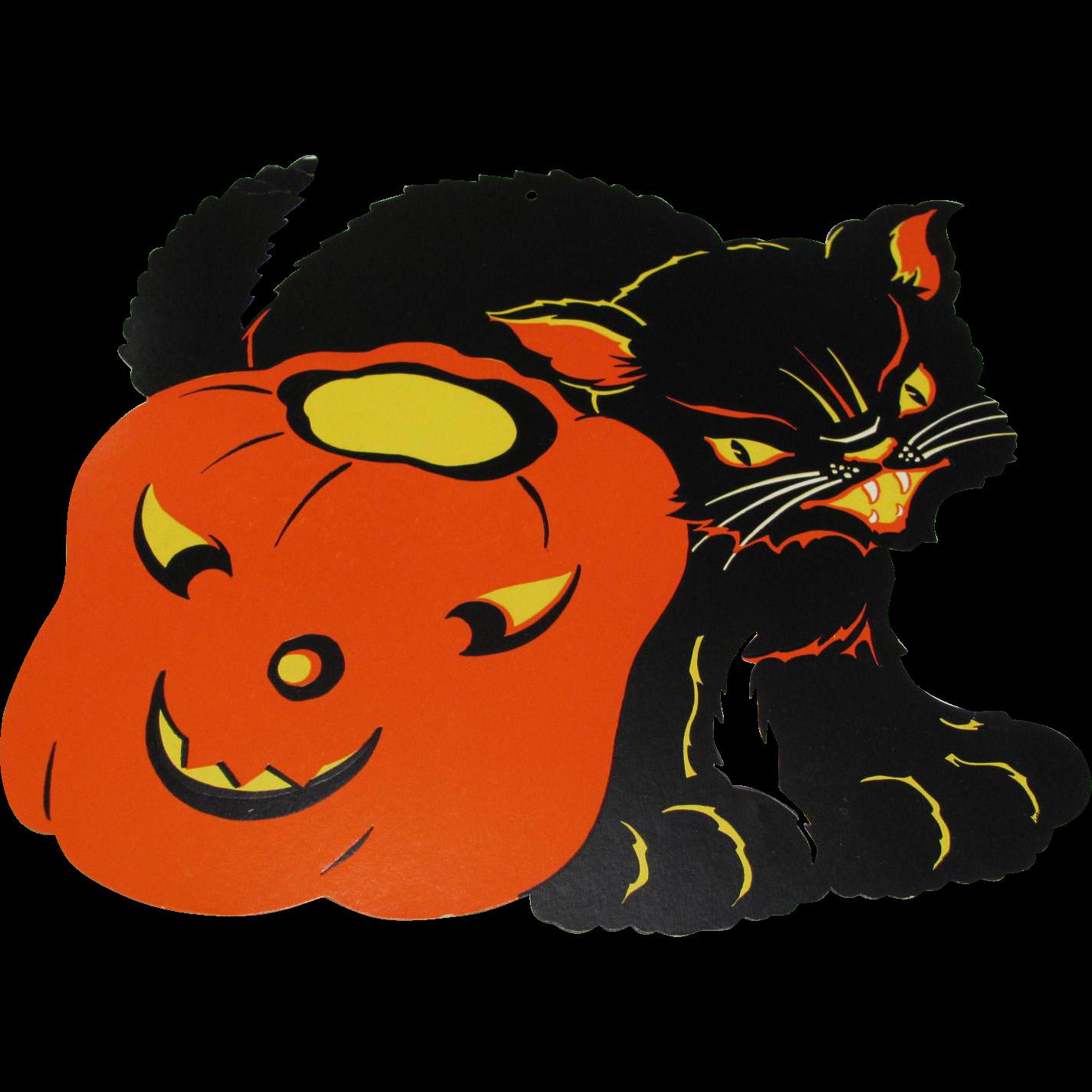 Halloween Decoration Black Cat & JOL found at www.rubylane.com ... clip free library
