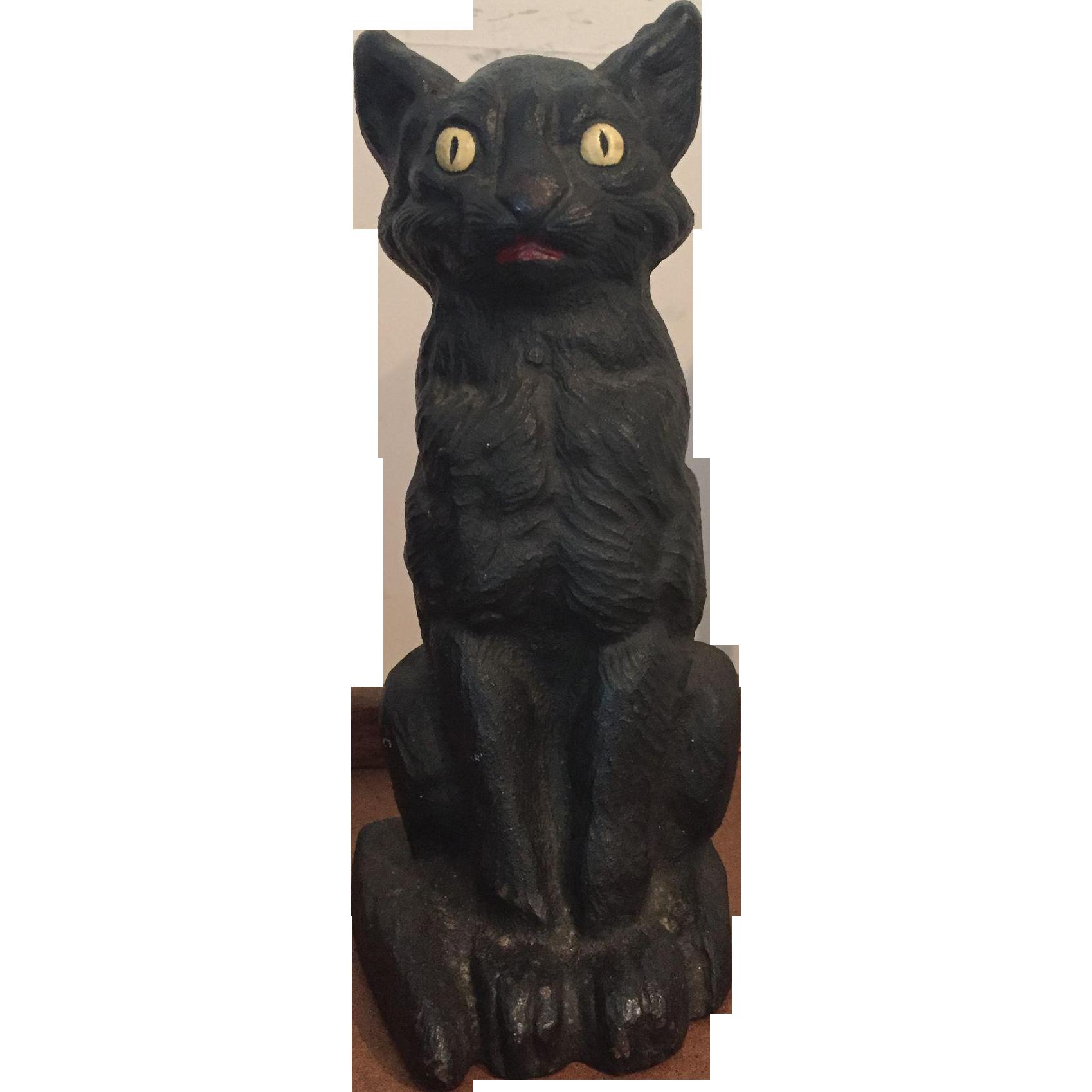 Hubley or National Foundry Halloween Black Cat Standing Doorstop ... banner freeuse download