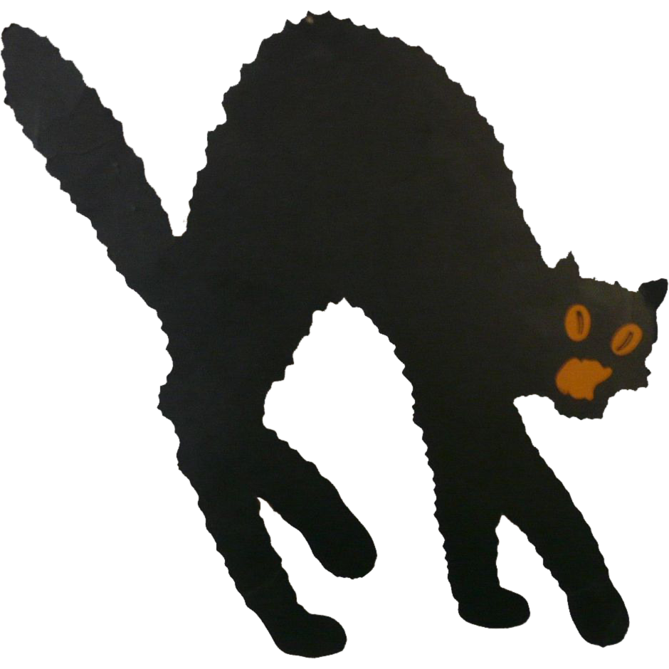 Medium size Arched back Black Cat die cut made by Dennison Company ... clipart library stock