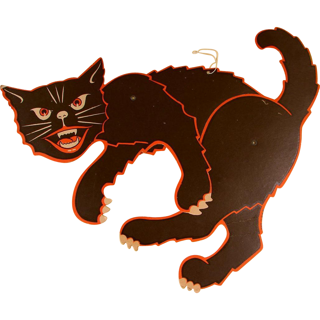 Clipart paper jointed black cat cutout