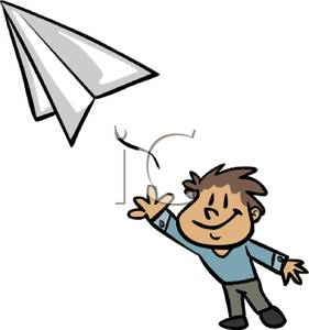 Boy Throwing a Paper Airplane - Clipart jpg freeuse library