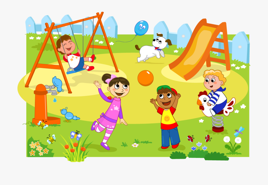 Clipart parc vector free stock Park Clipart Playground - Students Playing In Park #158154 - Free ... vector free stock