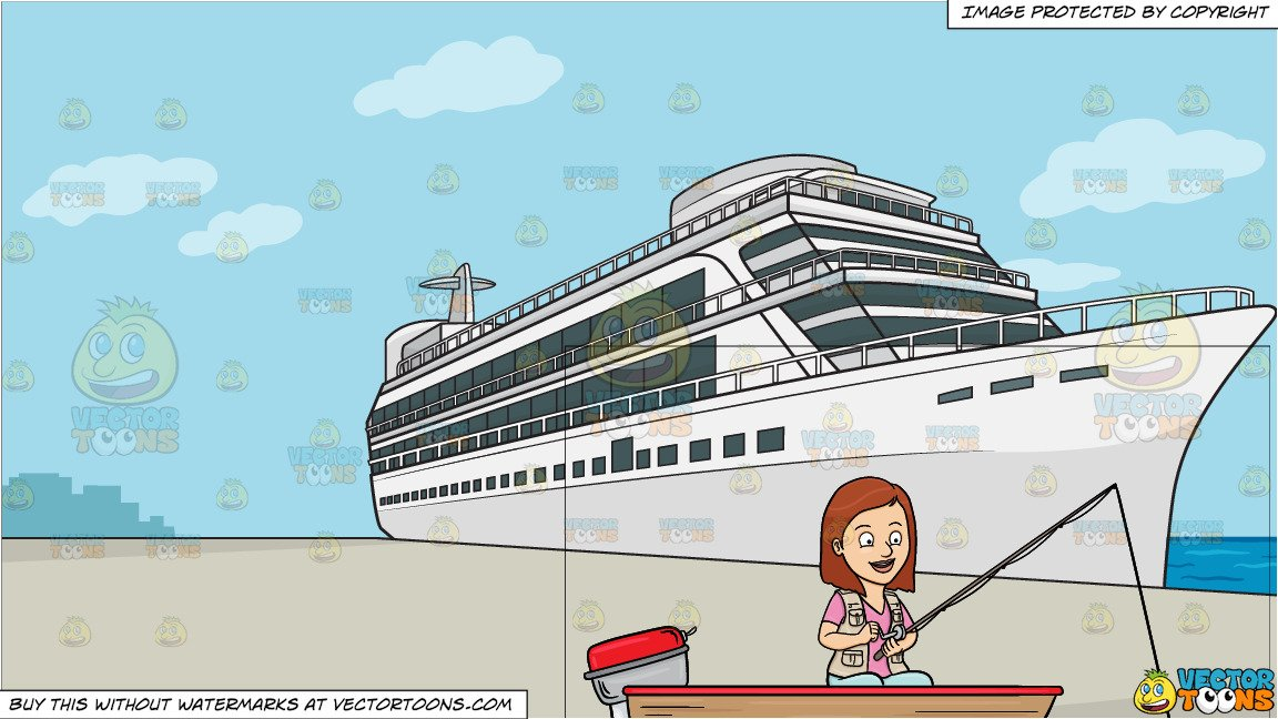Clipart passenger on trap to the boat vector freeuse A Woman Enjoys Her Time In A Motor Boat While Fishing On The Lake and A  Luxury Cruise Ship Liner Background vector freeuse