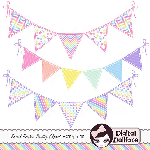 Clipart pastel banner transparent download Cute Digital Scrapbook Bunting Clip Art Pastel Rainbow banner transparent download