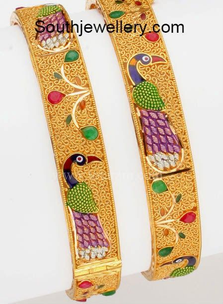 Clipart patli designs clip library stock peacock design kadas   Bangles   Gold bangles, Gold bangles design ... clip library stock