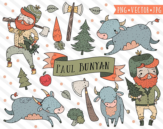 Clipart paul bunyan library Paul Bunyan Clipart, Woodland Clipart, Lumberjack Clip Art, Farm to ... library