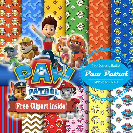 Digital paper paperpaw. Clipart paw patrol disney princes
