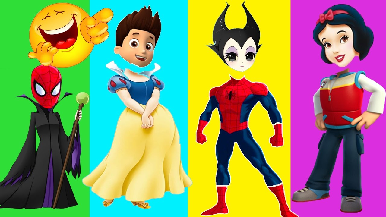 Clipart paw patrol disney princes image black and white Colors for Children to Learn with Wrong Heads Paw Patrol Disney ... image black and white