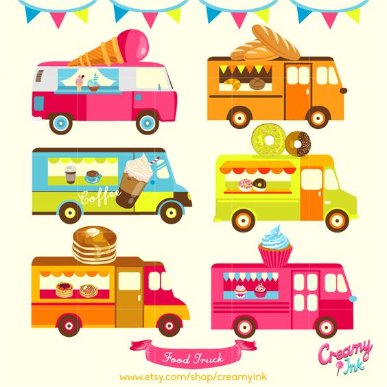 Clipart paying for food vector free stock Food Truck Digital Vector Clip art / Food Trucks Digital Clipart ... vector free stock