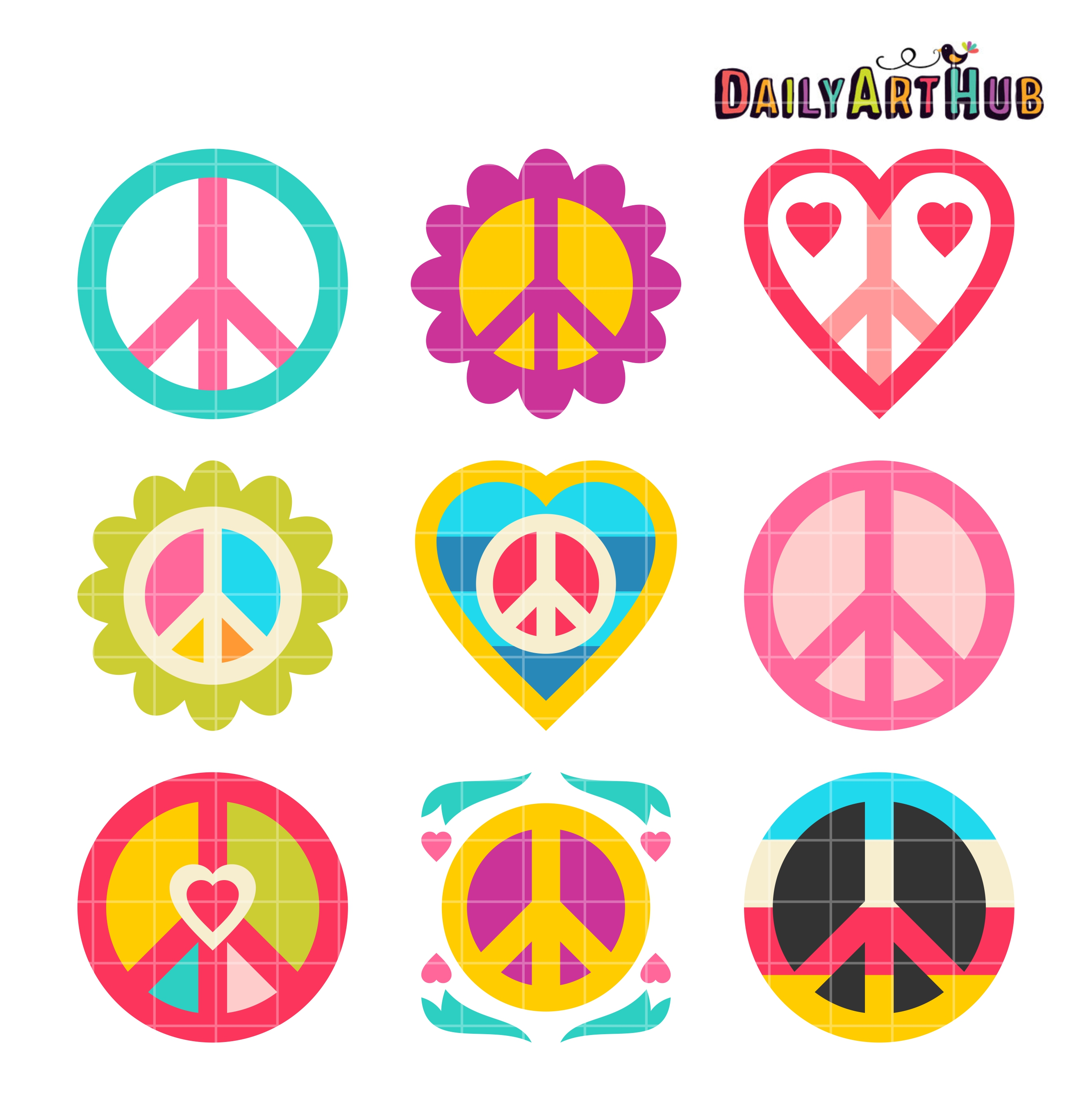 Love And Peace Clip Art Set | Daily Art Hub transparent stock