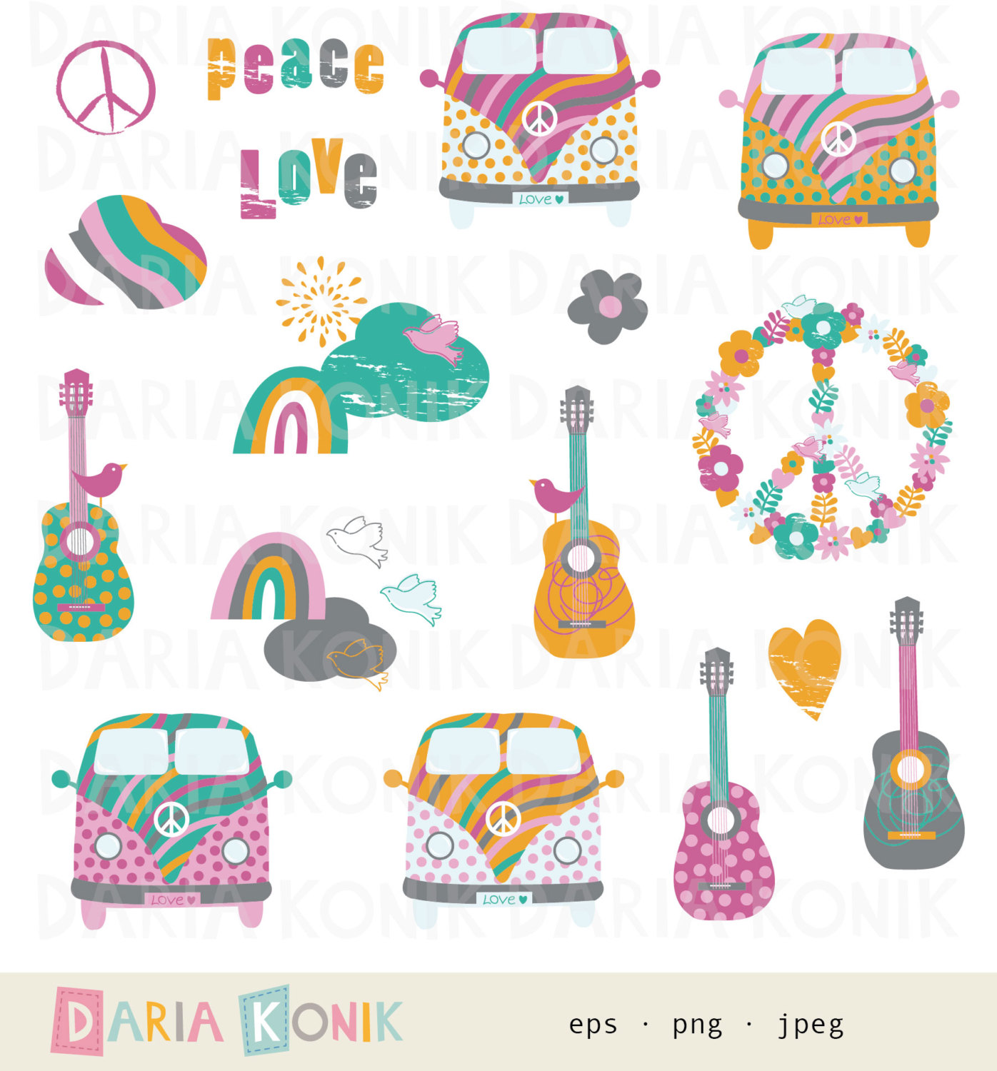 Love and Peace Clip Art Set-summer of love clipart buses vector free stock