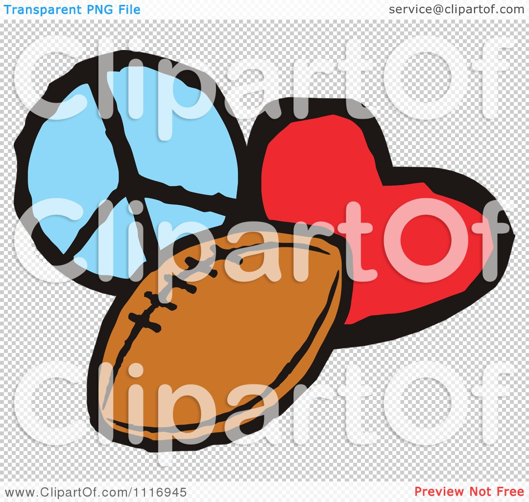 Cartoon Of Peace Love Football Graphics - Royalty Free Vector ... graphic freeuse stock
