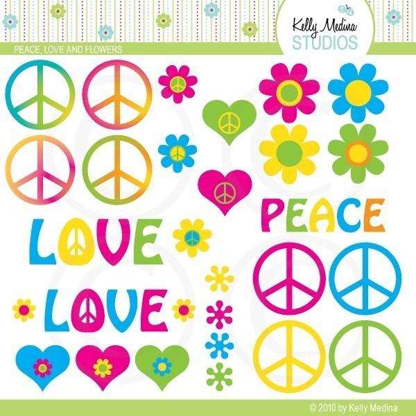 Peace and love clipart - ClipartFest clipart black and white