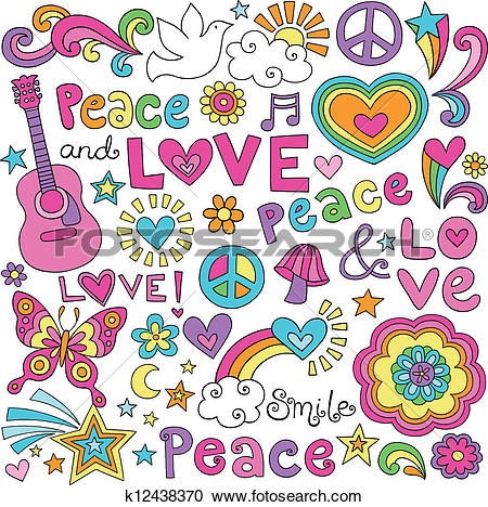 Clipart of Peace, Love, Music Groovy Doodles k12438370 - Search ... svg royalty free library