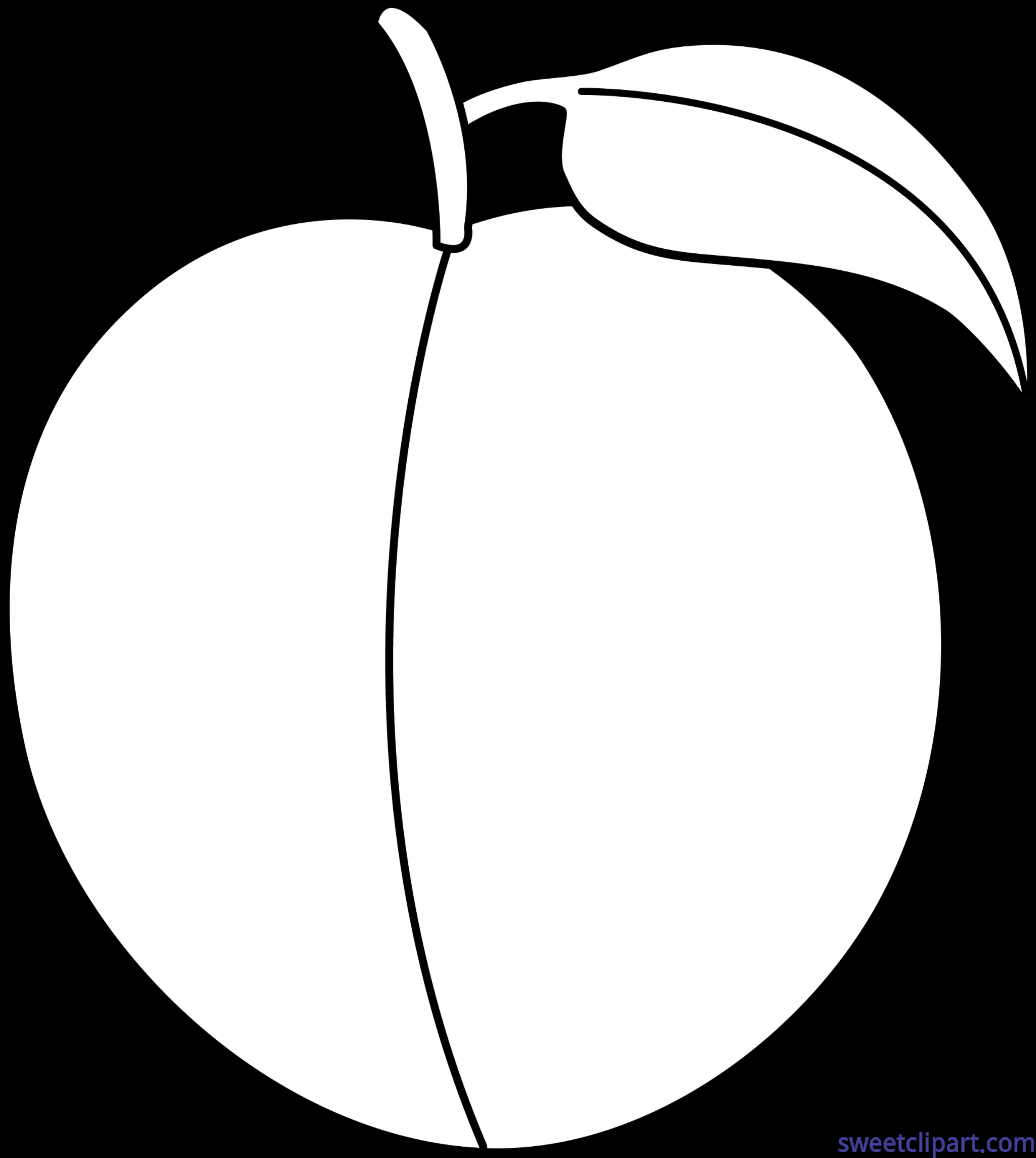 Clipart peach tree vector freeuse Peach Lineart Clip Art - Sweet Clip Art vector freeuse