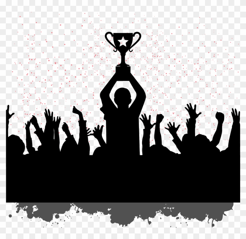 Clipart people celebrating banner black and white download Building Motivation Champion People Celebrating Silhouettes - Team ... banner black and white download