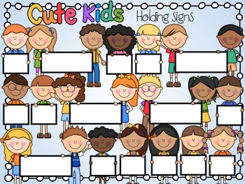 Kids holding sign clipart