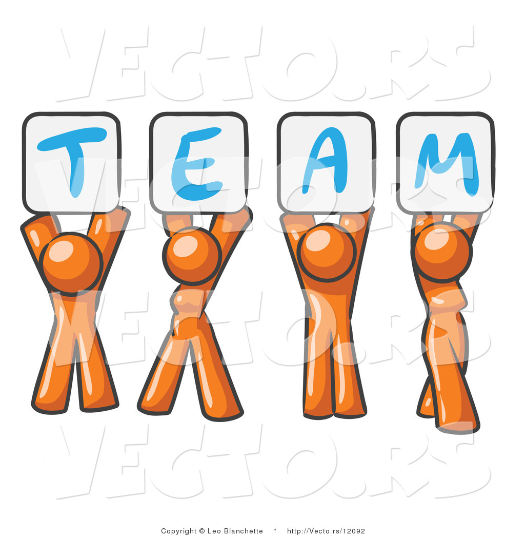 Clipart people holding sign picture transparent download Vector of Orange People Holding up Team Signs by Leo Blanchette - #12092 picture transparent download