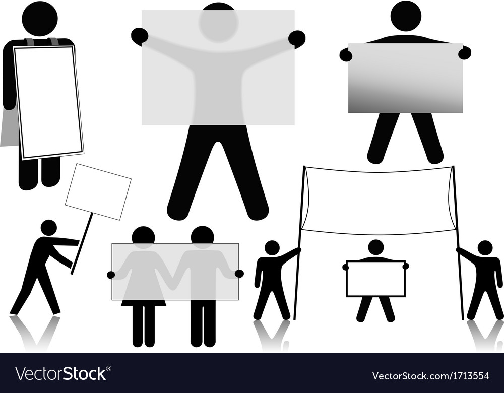 Clipart people holding sign clip black and white stock Symbol People Hold Sign Background Spaces vector image clip black and white stock