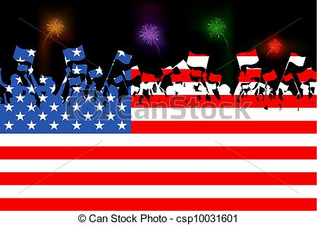 Clipart people of united states image royalty free Vector Clipart of American Citizen - illustration of people waving ... image royalty free