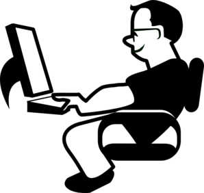 Clipart person at computer clipart black and white download Man Using Computer Clip Art at Clker.com - vector clip art online ... clipart black and white download