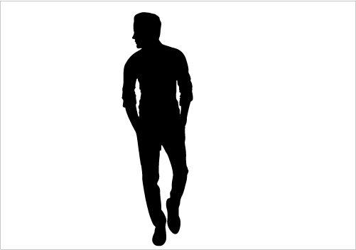 Man walk graphics . Free clipart skirt silhouette outline walking black white