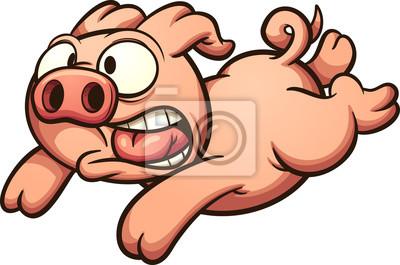 Clipart peur clip art black and white stock Image: Cochon qui court peur. illustration de clipart vectoriel avec clip art black and white stock