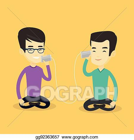 Clipart phone friends banner transparent stock EPS Illustration - Young friends talking through tin phone. Vector ... banner transparent stock