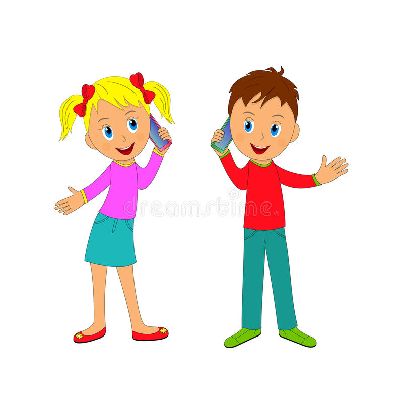 Clipart phone friends transparent stock Boy And Girl Talking On The Phone Stock Ve #164980 - Clipartimage.com transparent stock