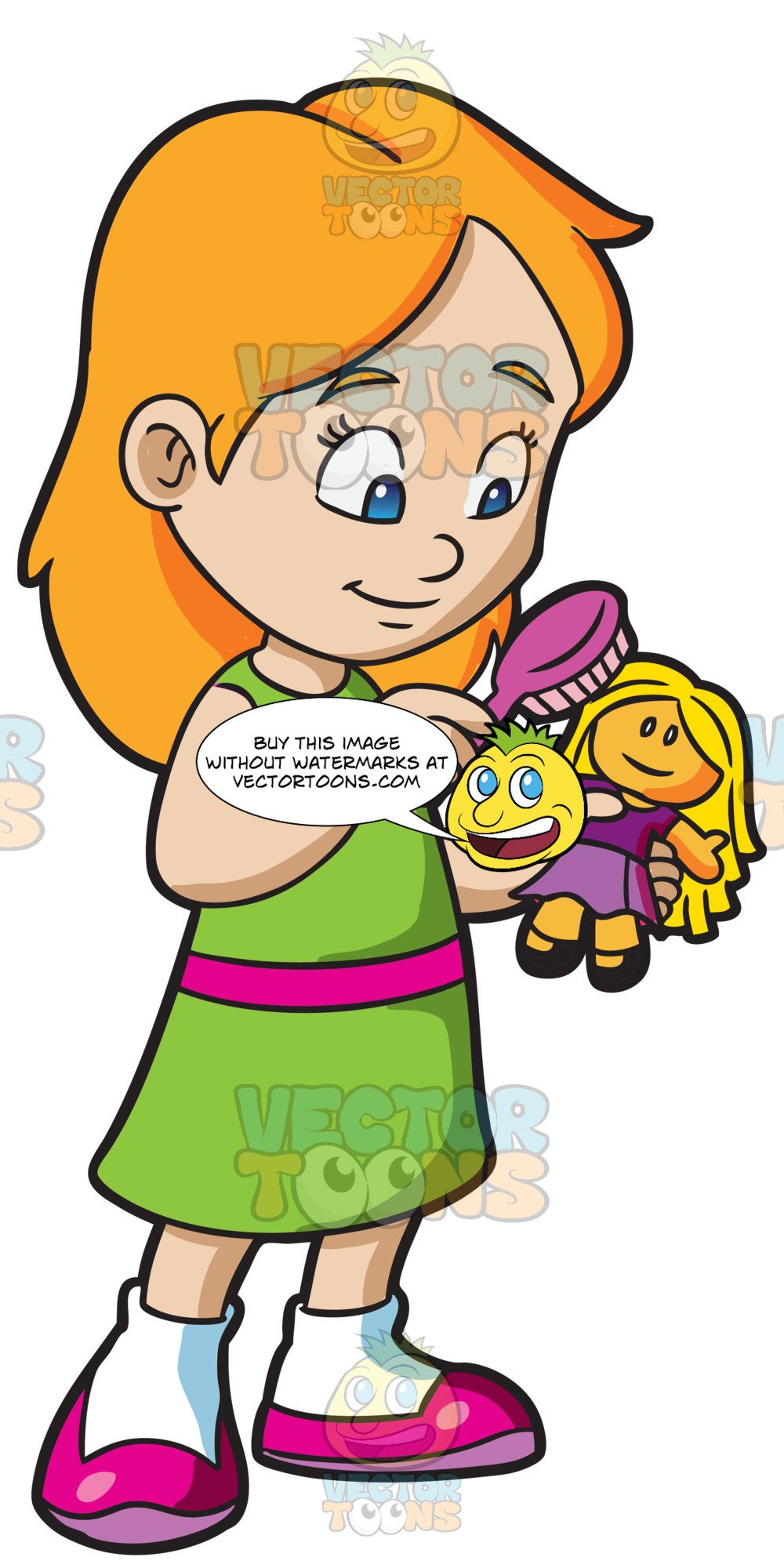Clipart photo of girl playing with doll vector stock A Young Girl Brushing The Hair Of Her Doll vector stock
