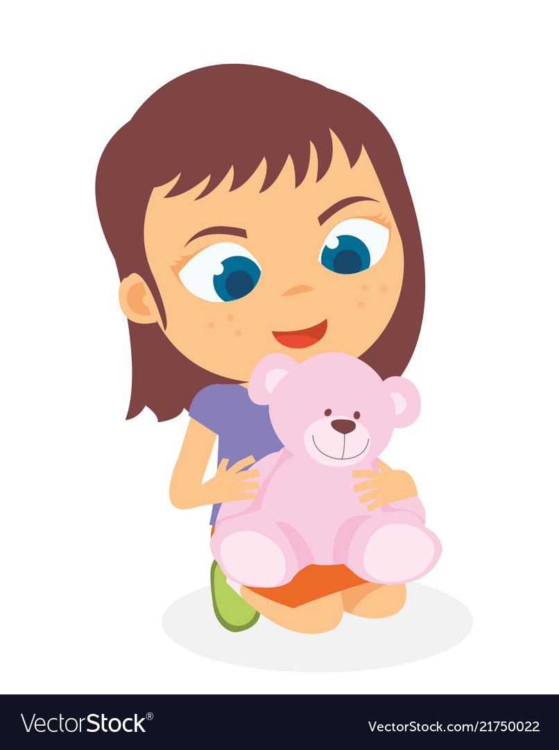 Clipart photo of girl playing with doll clipart black and white download Happy little girl playing her doll clipart black and white download