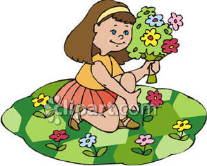 Clipart pick svg black and white Little Girl Picking Spring Flowers - Royalty Free Clipart Picture svg black and white