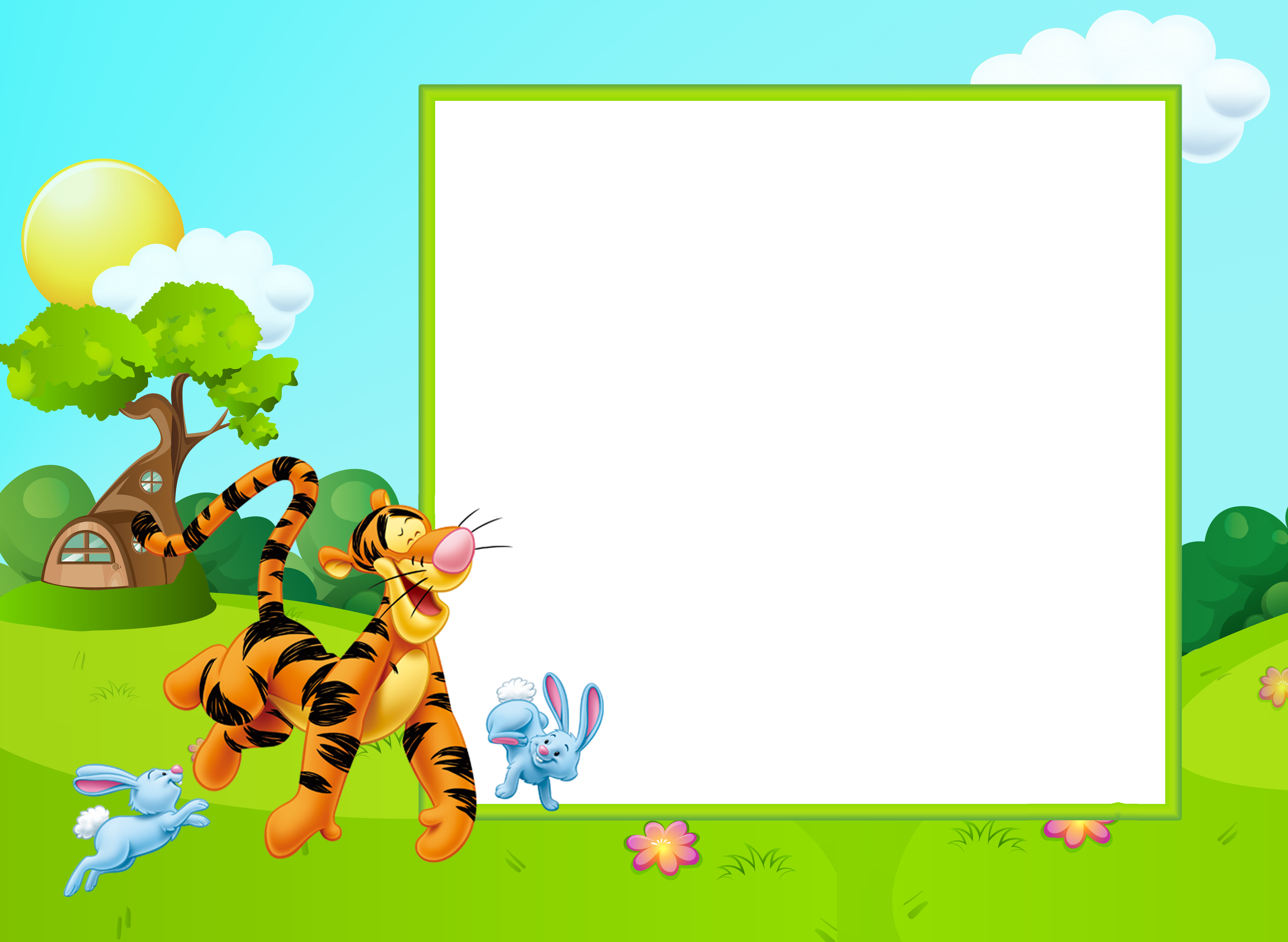 Clipart picture frames cross png black and white download Cute Kids Transparent PNG Frame with Tigger | Gallery Yopriceville ... png black and white download