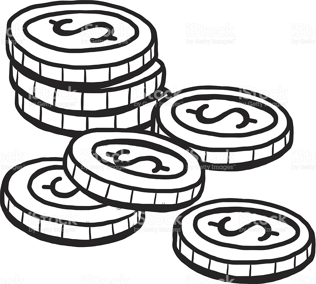 Clipart picture of coins in black and white png black and white stock Coin clipart black and white 4 » Clipart Station png black and white stock