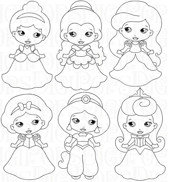 Princess black and white clipart vector free download LITTLE PRINCESSES B&W Digital Clip Art Set -Personal and Commercial ... vector free download