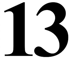Clipart picture of thirteen black and white royalty free stock Symbols: Thirteen (13) royalty free stock