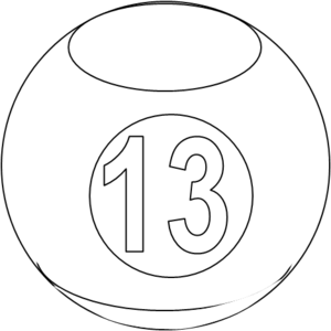 Clipart picture of thirteen black and white vector library Billiard Ball Bw 13 | Free Images at Clker.com - vector clip art ... vector library