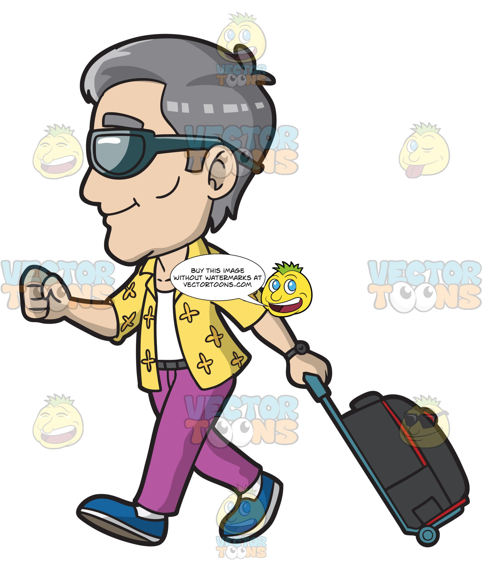 Clipart picture of tourist at airport vector free library A Mature Male Tourist Arriving At The Airport For A Holiday vector free library
