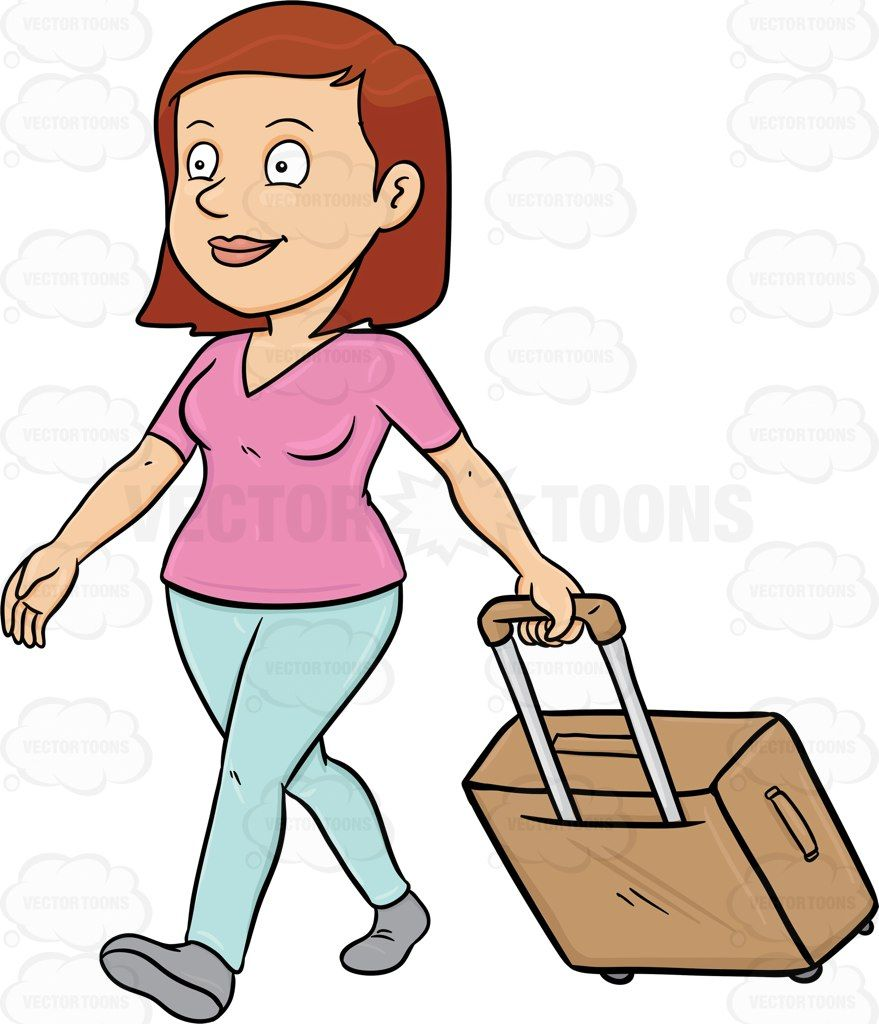 Clipart picture of tourist at airport clipart library download A Female Tourist Tourist Walks While Pulling Her Luggage #airline ... clipart library download