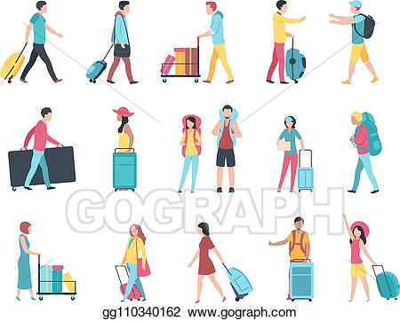 Clipart picture of tourist at airport clipart Vector Art - Travel people. airport tourist baggage crowd passengers ... clipart