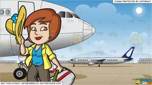 Clipart picture of tourist at airport svg library A Happy Female Tourist and Airport Runway Background svg library