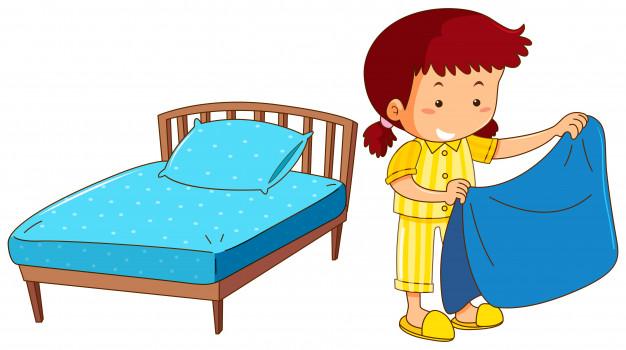 Clipart - pictures - hacer la cama clipart royalty free stock Chica haciendo cama sobre fondo blanco | Descargar Vectores gratis clipart royalty free stock