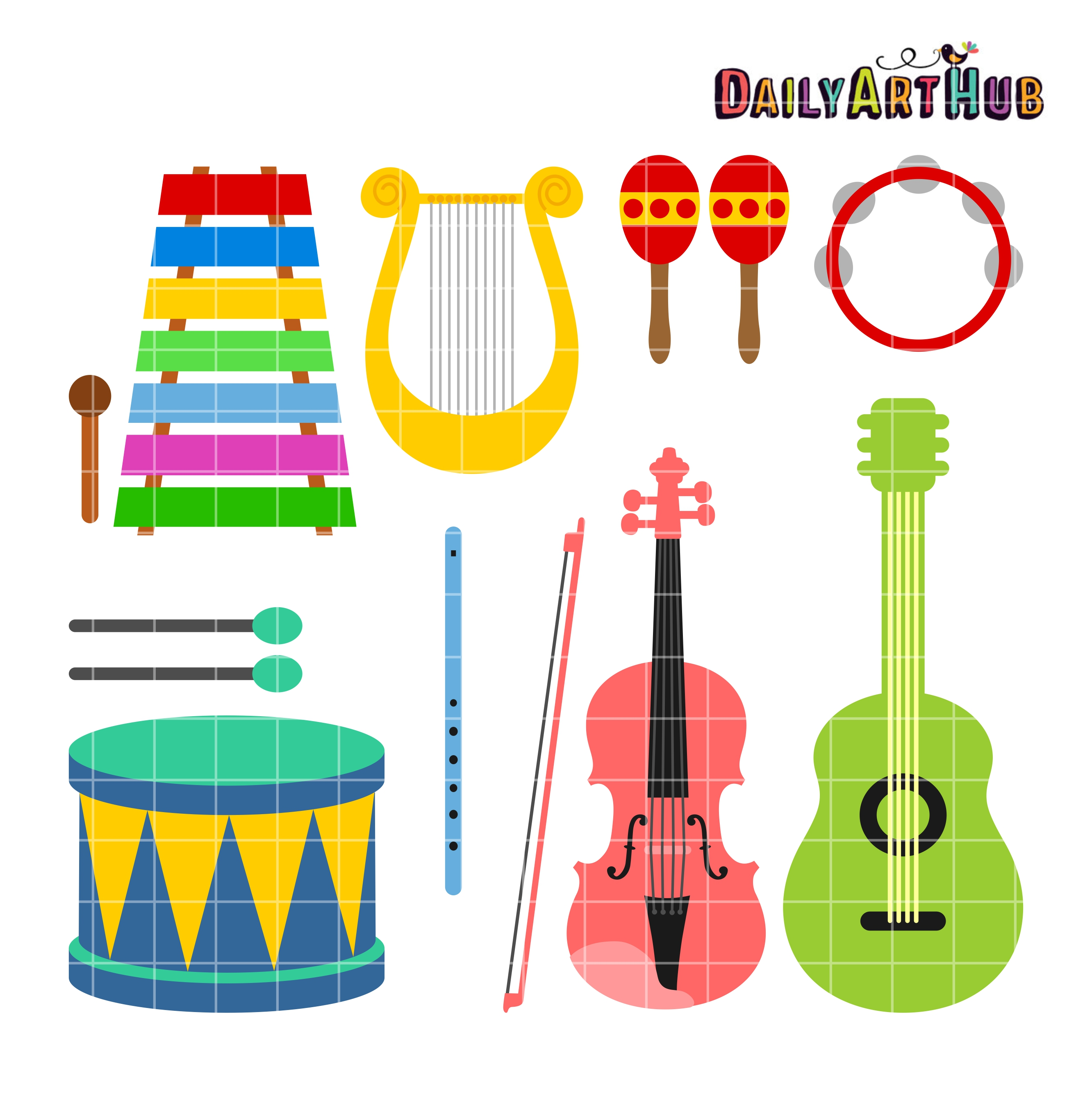 Musical instruments clipart images png royalty free library Musical Instruments Clip Art Set png royalty free library